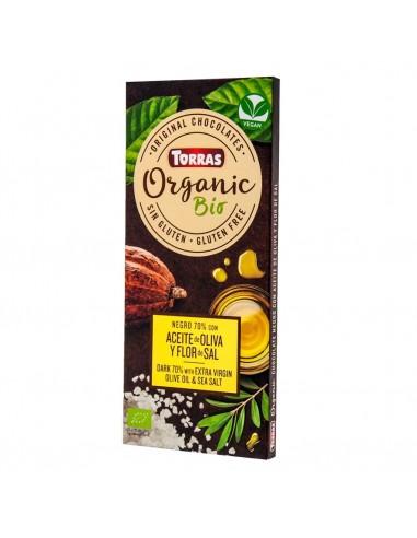 Chocolate negro 70% con AOVE y flor...